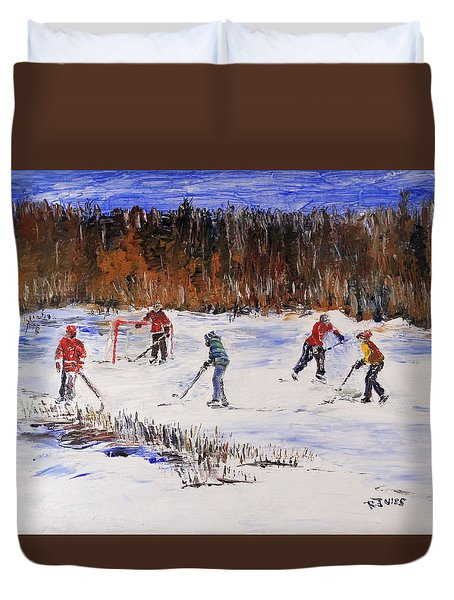Two On Two On The Frozen Pond Duvet Cover