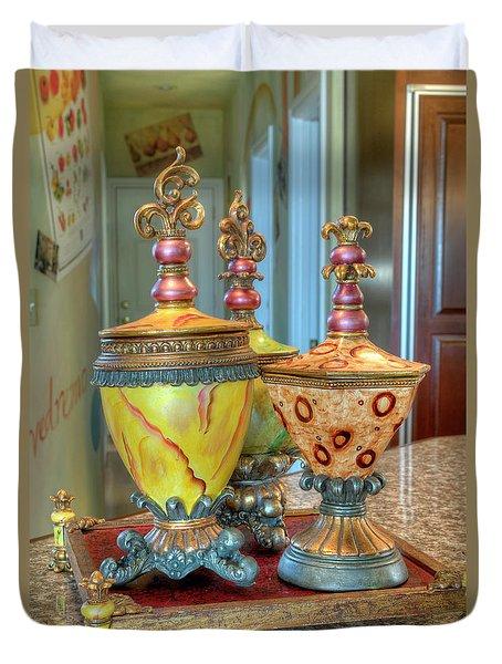 Two Ornate Colorful Vases Or Urns Art Prints Duvet Cover