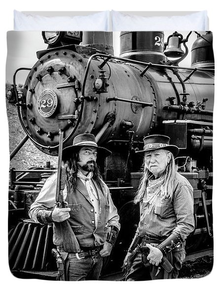Two Outlaws And Steam Train Duvet Cover
