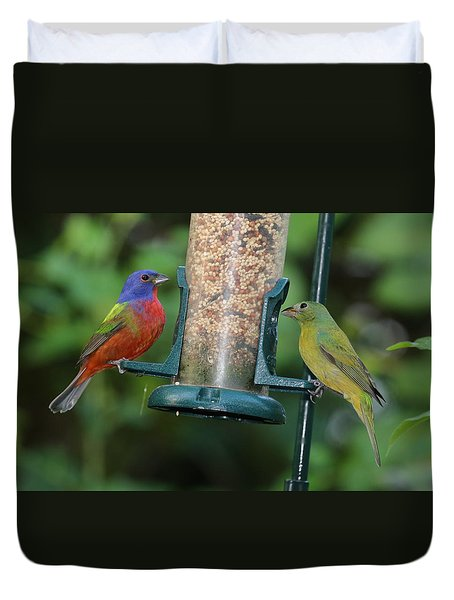 Two Painted Buntings Duvet Cover