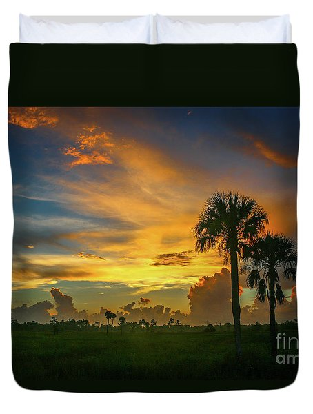 Duvet Cover featuring the photograph Two Palm Silhouette Sunrise by Tom Claud