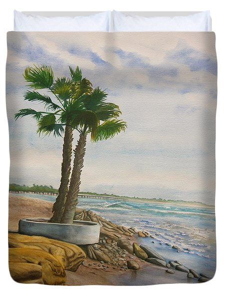 Duvet Cover featuring the painting Two Palms by Teresa Beyer