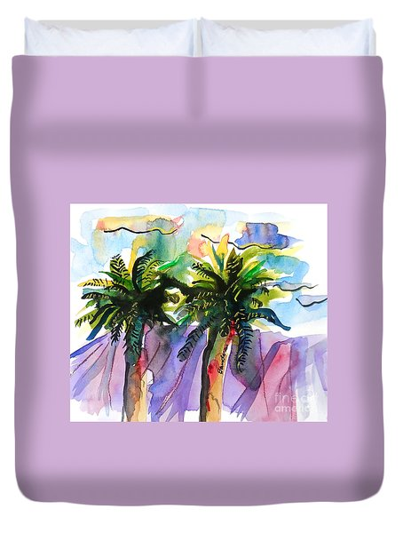 Two Palms Duvet Cover by Terry Banderas