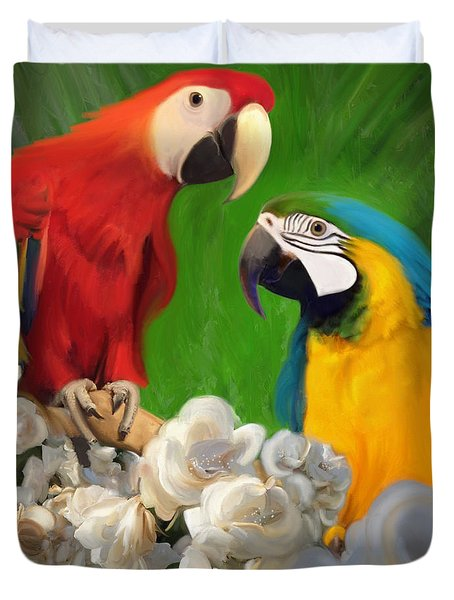 Two Parrots And White Roses Duvet Cover by Julianne  Ososke