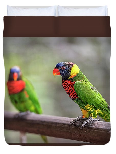Duvet Cover featuring the photograph Two Parrots by Pradeep Raja Prints