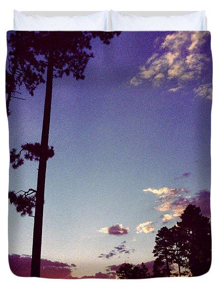 Two Pines Sunset Duvet Cover