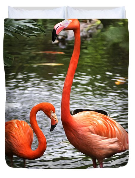 Two Pink Flamingo's Duvet Cover