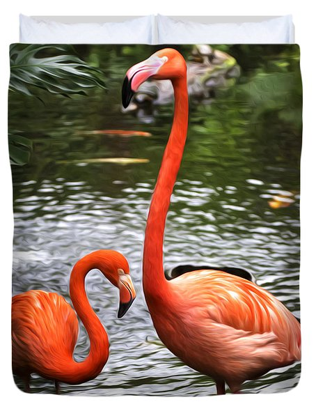 Duvet Cover featuring the painting Two Pink Flamingo's by Sue Harper