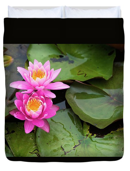 Two Pink Lilies Duvet Cover