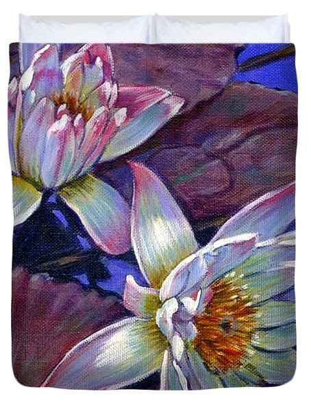 Two Pink Water Lilies Duvet Cover by John Lautermilch