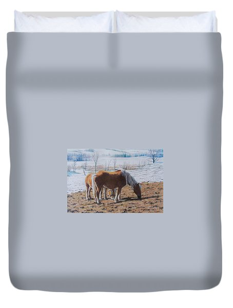 Two Ponies In The Snow Duvet Cover