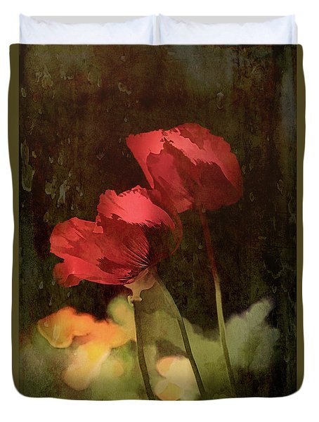 Two Poppies Duvet Cover by Elaine Teague
