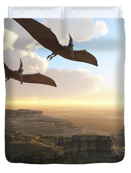 Two Pterodactyl Flying Dinosaurs Soar Duvet Cover by Corey Ford