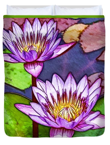 Two Purple Lotus Flower Duvet Cover by Lanjee Chee