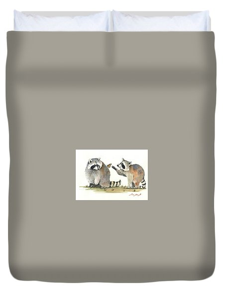 Two Raccoons Duvet Cover