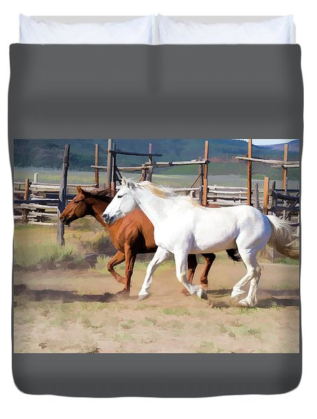 Duvet Cover featuring the digital art Two Ranch Horses Galloping Into The Corrals by Nadja Rider