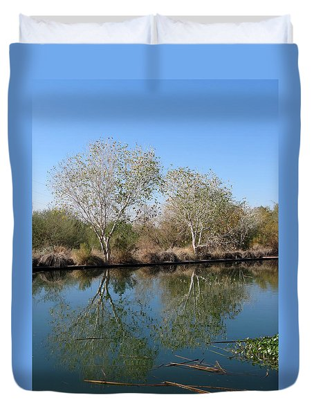 Duvet Cover featuring the photograph Two Reflected by Laurel Powell