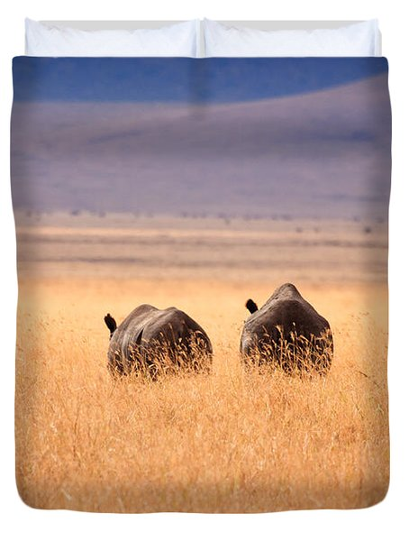 Two Rhino's Duvet Cover by Adam Romanowicz