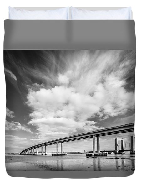 Duvet Cover featuring the photograph Two River Bridges by Gary Gillette