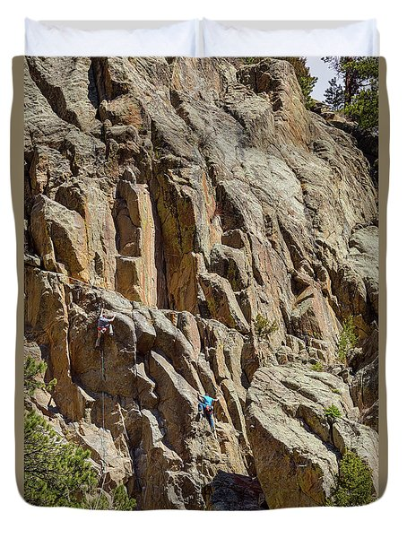Duvet Cover featuring the photograph Two Rock Climbers Making Their Way by James BO Insogna