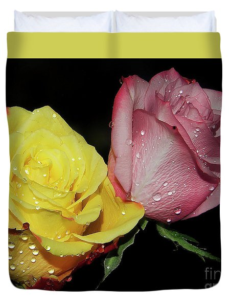 Duvet Cover featuring the photograph Two Roses by Elvira Ladocki