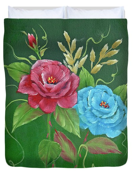 Two Roses Red And Blue Duvet Cover by Jimmie Bartlett