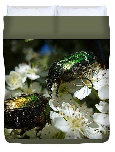 Duvet Cover featuring the photograph Two Scarabs Metallic Green by Jean Bernard Roussilhe