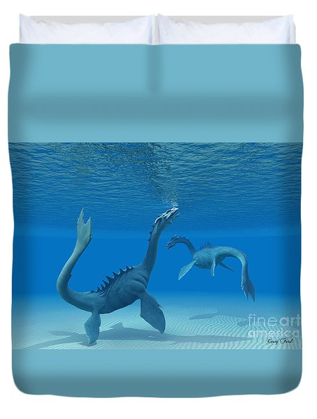Two Sea Dragons Duvet Cover by Corey Ford