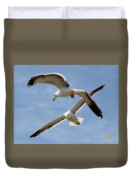 Two Seagulls Almost Collide  Duvet Cover