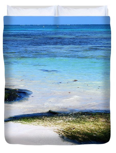 Two Seaweed Mounds On Punta Cana Resort Beach Duvet Cover
