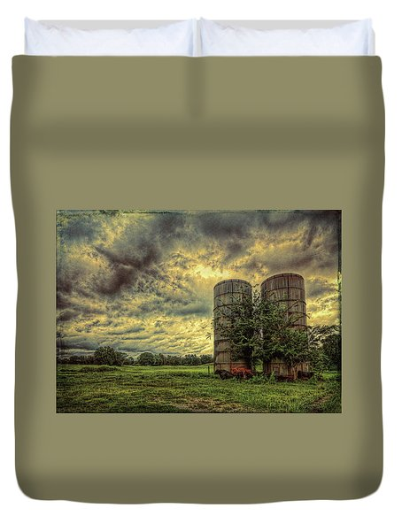 Duvet Cover featuring the photograph Two Silos by Lewis Mann