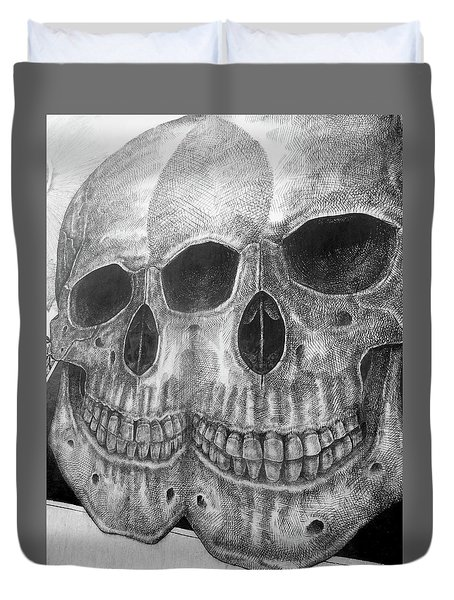 Duvet Cover featuring the photograph Two Skulls ... by Juergen Weiss