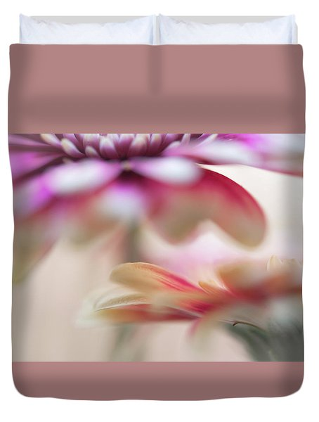 Duvet Cover featuring the photograph Two Souls 1. Macro Gerbera by Jenny Rainbow