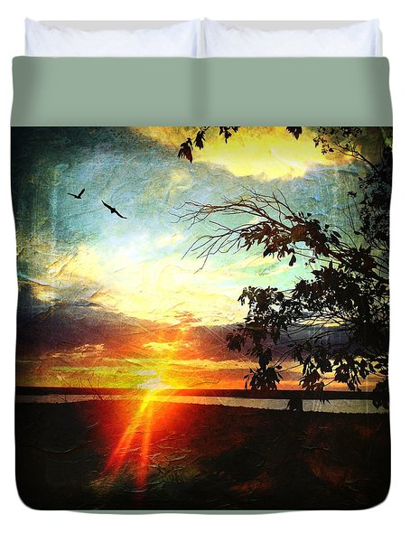 Two Souls Flying Off Into The Sunset  Duvet Cover by Debra Martz