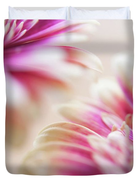Duvet Cover featuring the photograph Two Souls. Macro Gerbera by Jenny Rainbow
