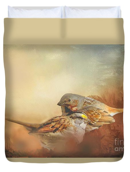 Sparrows In The Marsh 2 Duvet Cover by Janette Boyd