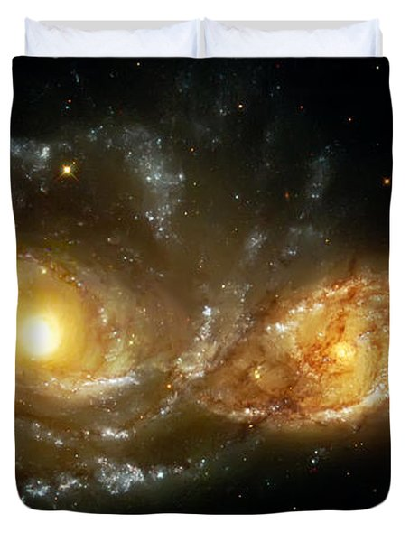 Two Spiral Galaxies Duvet Cover by Jennifer Rondinelli Reilly - Fine Art Photography