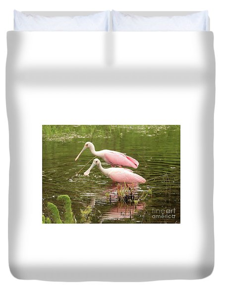Two Spoonbills In Pond Duvet Cover by Carol Groenen