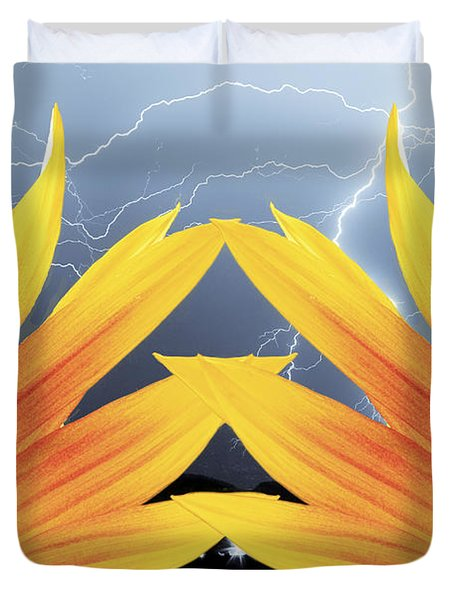 Two Sunflower Lightning Storm Duvet Cover by James BO  Insogna
