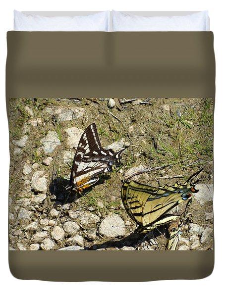 Two Swallowtail Butterflies Duvet Cover