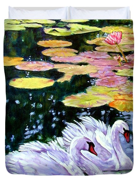 Two Swans In The Lilies Duvet Cover by John Lautermilch