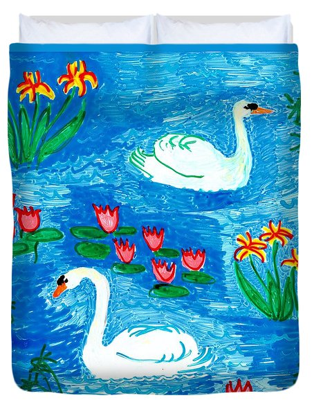 Two Swans Duvet Cover by Sushila Burgess