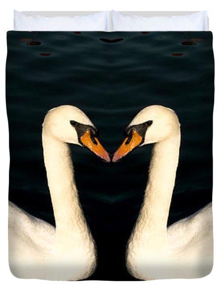 Two Symmetrical White Love Swans Duvet Cover