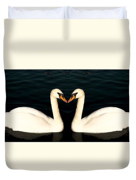 Two Symmetrical White Love Swans Duvet Cover