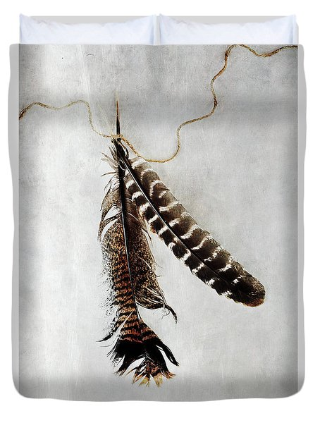 Two Tattered Turkey Feathers Duvet Cover