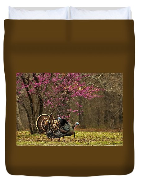Two Tom Turkey And Redbud Tree Duvet Cover