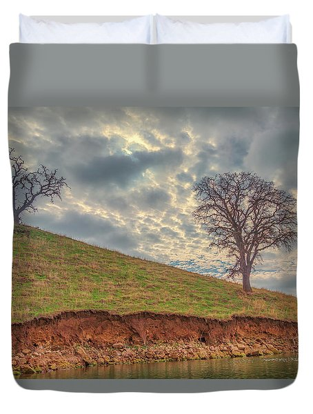 Two Trees And Clouds At Los Vaqueros Duvet Cover