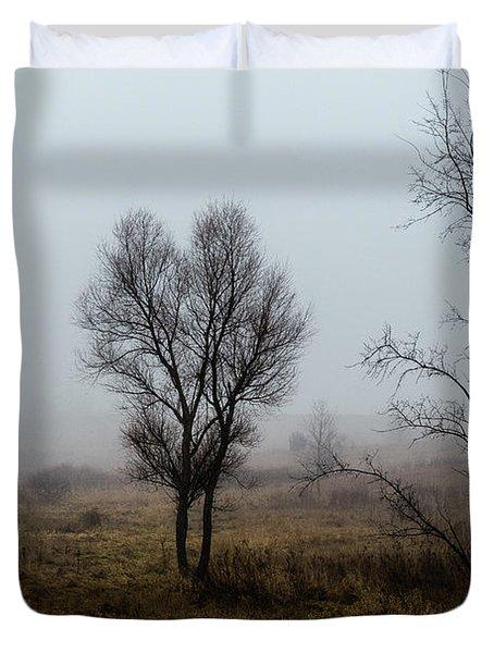 Two Trees In The Fog Duvet Cover