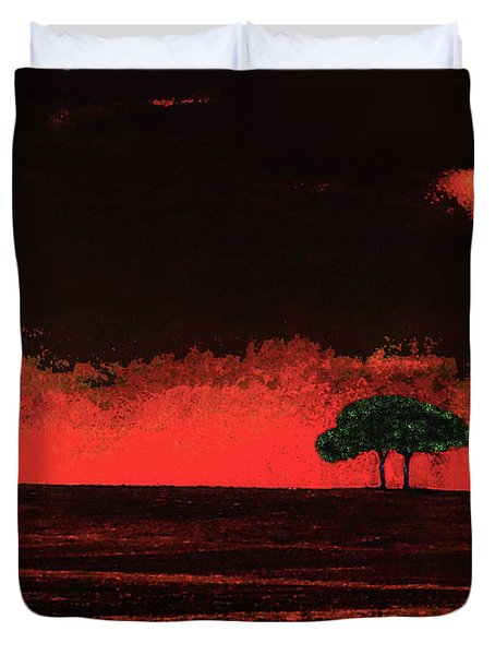 Two Trees In Tuscany Duvet Cover