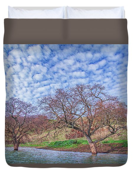 Two Trees In Water And Clouds Duvet Cover